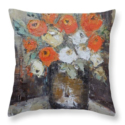 Roses Throw Pillow featuring the painting Red Roses In A Vase by Maria Karalyos