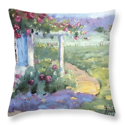 Impressionist Throw Pillow featuring the painting Red Roses Over Blue Shutters by Joyce Hicks