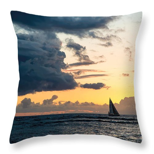 Pacific Ocean Throw Pillow featuring the photograph Sails In The Sunset by Jon Burch Photography