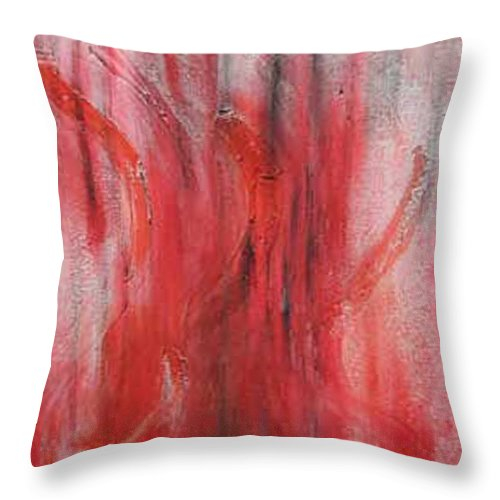 Abstract Throw Pillow featuring the painting Red Sea by Silvana Abel