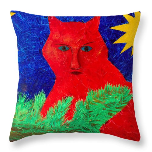 Fantasy Throw Pillow featuring the painting Red by Sergey Bezhinets