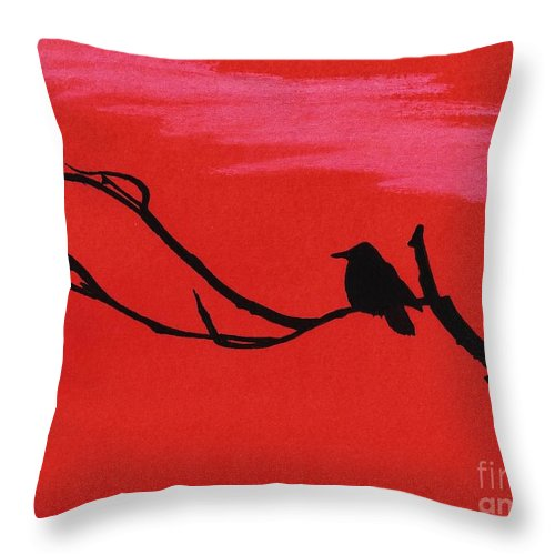 Sunset Throw Pillow featuring the drawing Red - Silhouette - Sunset by D Hackett