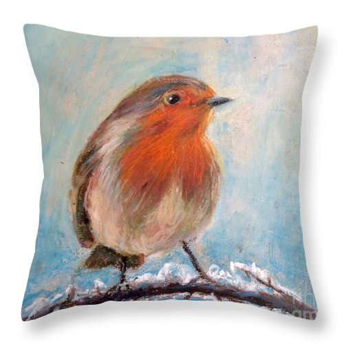 Red Bird In Snow Throw Pillow featuring the painting Red Singer by Jieming Wang