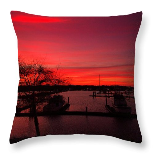 Sunrise Throw Pillow featuring the photograph Red Sky In The Morning Two by Joyce Dickens