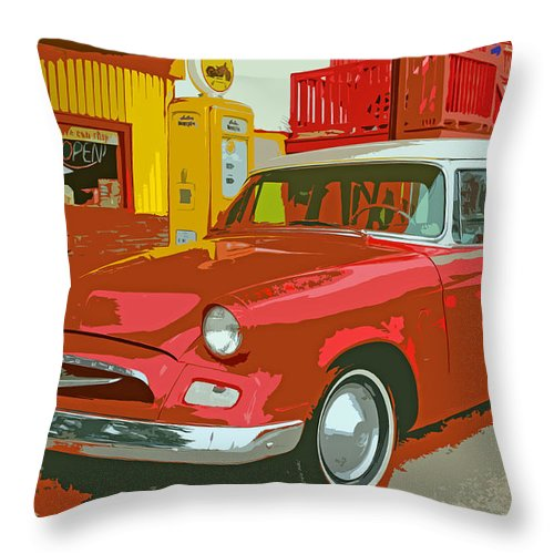 Red Throw Pillow featuring the photograph Red Studebaker by Lynn Sprowl