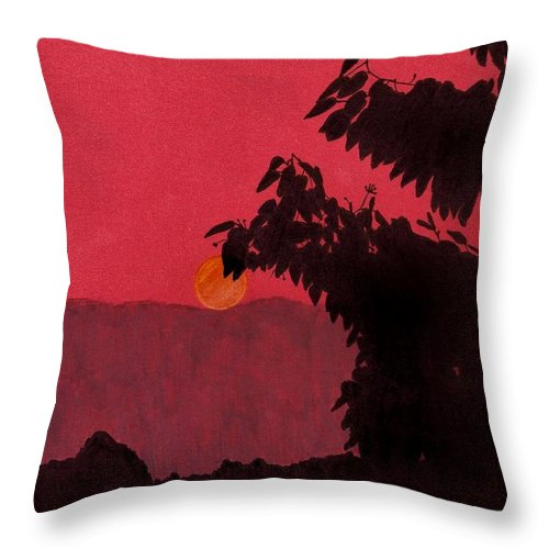 Sunset Throw Pillow featuring the drawing Red - Sunset by D Hackett