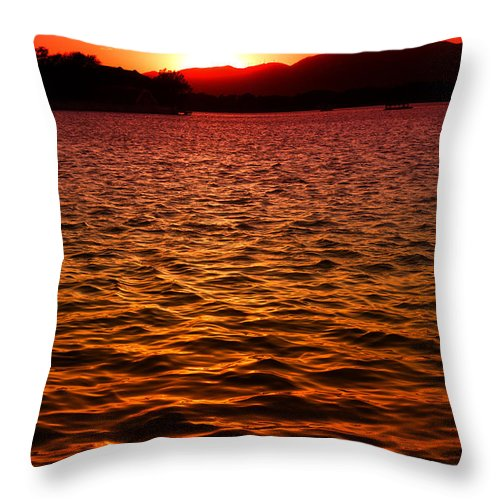 Photography By Yew Kwang Throw Pillow featuring the photograph Red Sunset by Yew Kwang