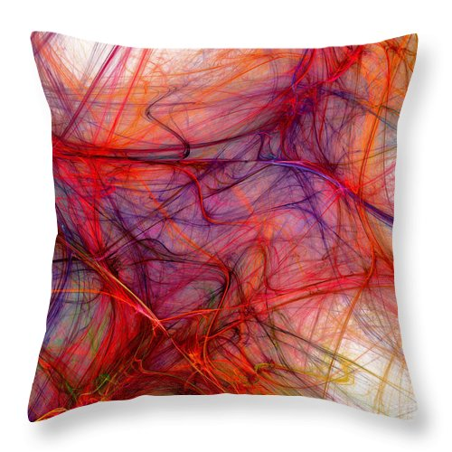 Fine Art Throw Pillow featuring the digital art Red Threads by Martin Capek