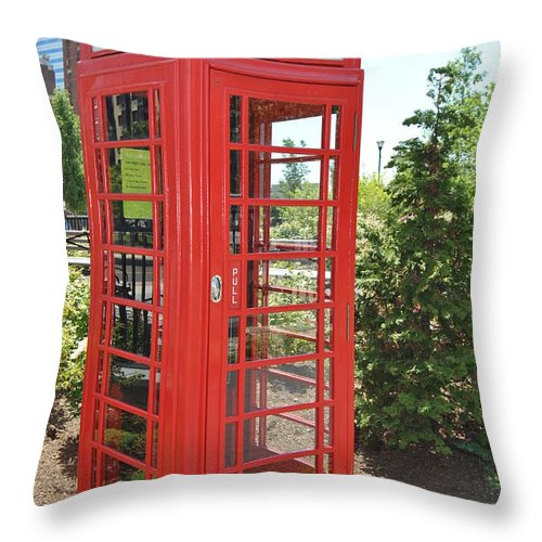 Retro Throw Pillow featuring the photograph Red Token Booth by Christine Crowley