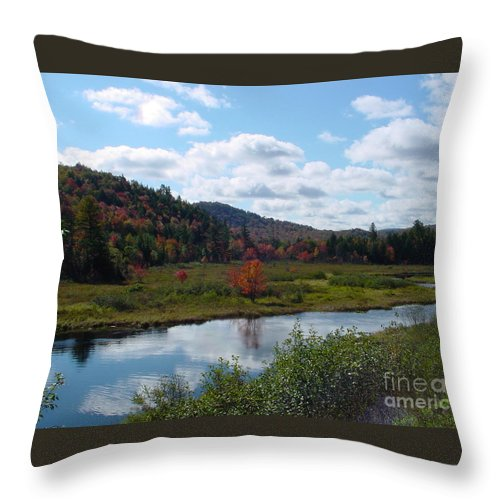 River Throw Pillow featuring the photograph Red Tree At River by Nancie Johnson