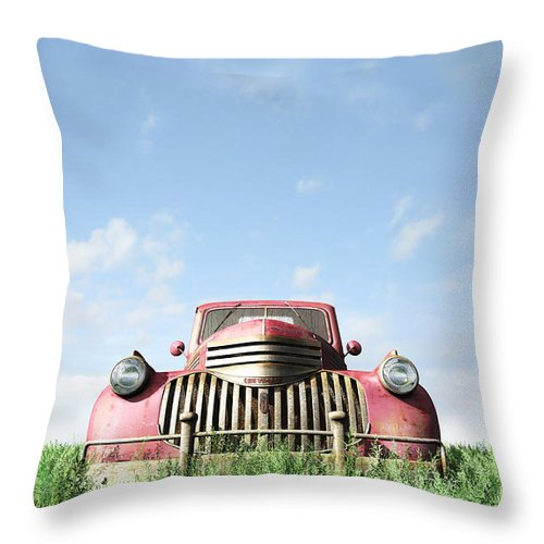 Chevy Throw Pillow featuring the digital art Red Truck by Cynthia Decker
