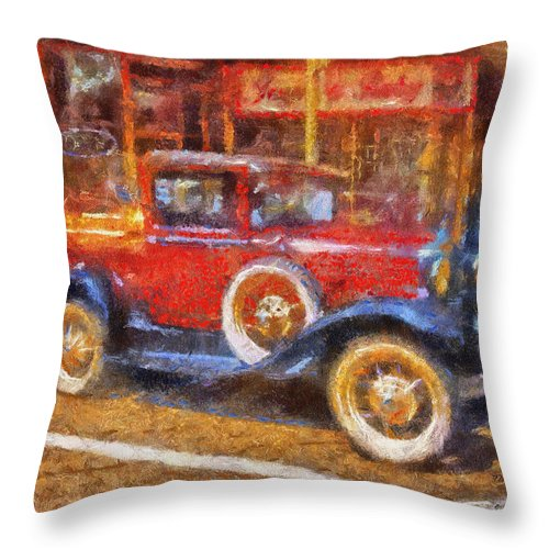 Red Throw Pillow featuring the photograph Red Truck Photo Art by Thomas Woolworth