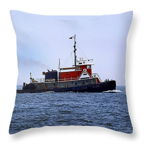 Maritime Throw Pillow featuring the photograph Red Tug by Skip Willits