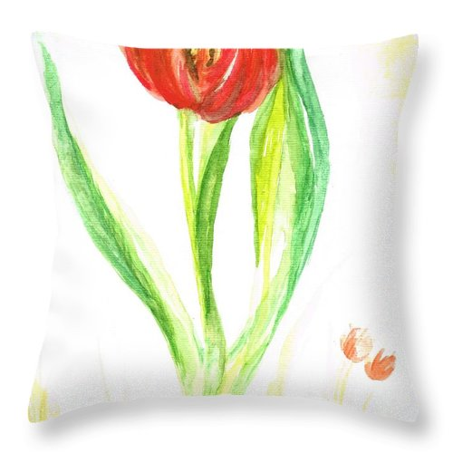 Teresa White Throw Pillow featuring the painting Red Tulip -of Amsterdam  by Teresa White