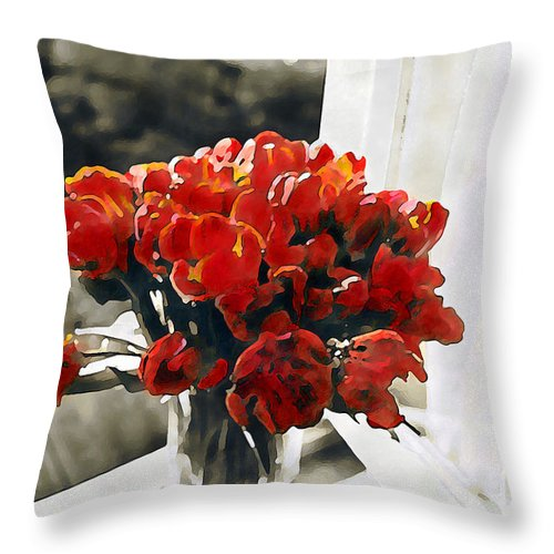 Abstract Throw Pillow featuring the photograph Red Tulips In Window by Linda Parker