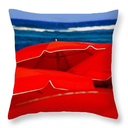 Umbrellas Throw Pillow featuring the photograph Red Umbrellas by Karen Wiles