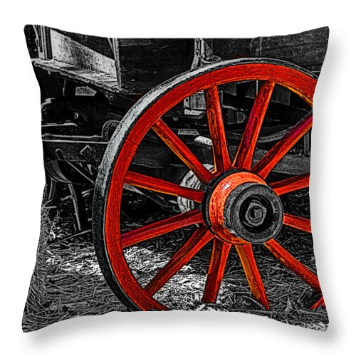 Photo Throw Pillow featuring the painting Red Wagon Wheel by Jack Zulli