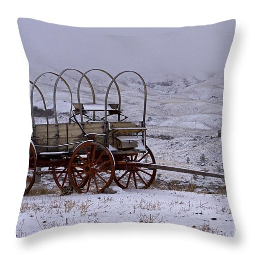 Horse Wagon Throw Pillow featuring the photograph Red-wheeled Wagon  #0662 by J L Woody Wooden