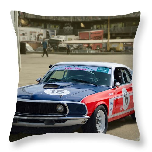 Ford Throw Pillow featuring the photograph Red White And Blue Mustang by Stuart Row