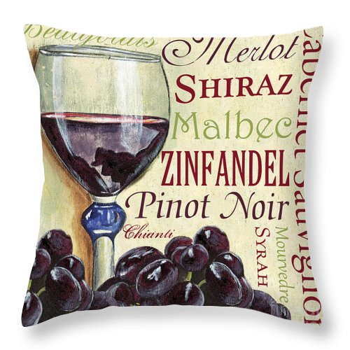 Wine Throw Pillow featuring the painting Red Wine Text by Debbie DeWitt