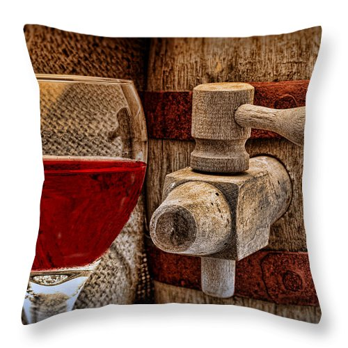 Aged Throw Pillow featuring the photograph Red Wine With Tapped Keg by Tom Mc Nemar