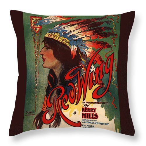 Red Wing Throw Pillow featuring the digital art Red Wing by Unknown