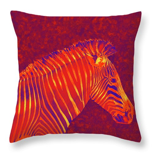 Zebra Throw Pillow featuring the digital art Red Zebra by Jane Schnetlage