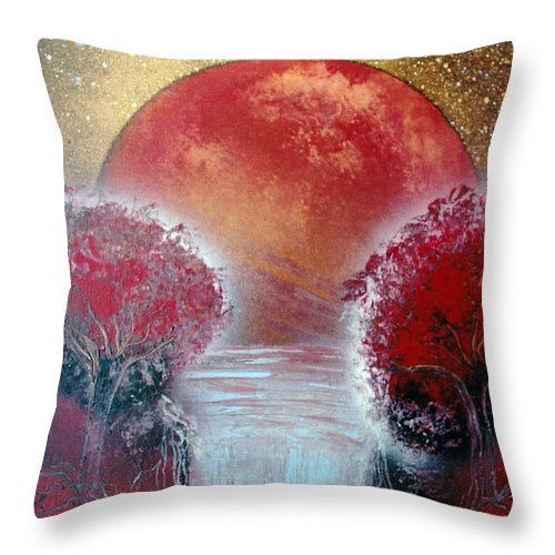 Landscape Throw Pillow featuring the painting Redder by Jason Girard