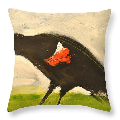 Redwing Throw Pillow featuring the painting Redwing Muses by Tim Nyberg