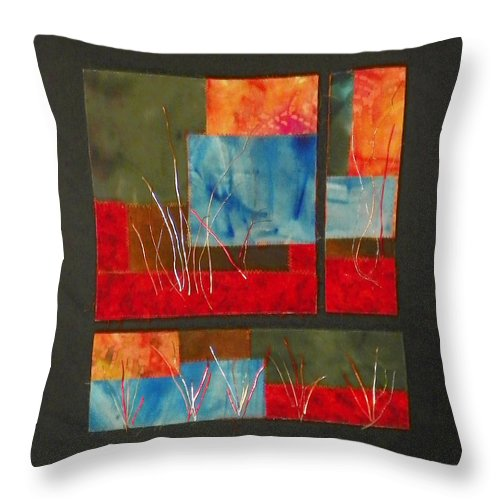 Nature Throw Pillow featuring the mixed media Reeds by Jenny Williams