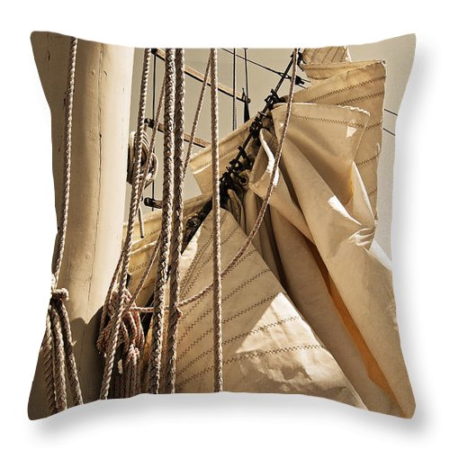 Reefing Throw Pillow featuring the photograph Reefing The Mainsail In Sepia by Jani Freimann