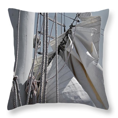 Reefing Throw Pillow featuring the photograph Reefing The Mainsail by Jani Freimann