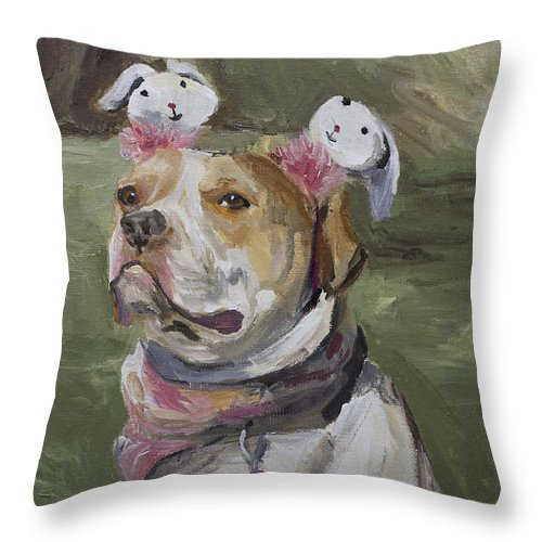 Dog Throw Pillow featuring the painting Reese by Christy Koerner