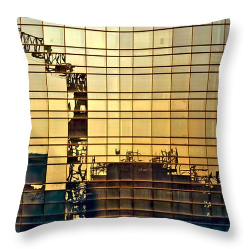Architecture Throw Pillow featuring the photograph Reflected Cranes At Sunset by Roberto Pagani