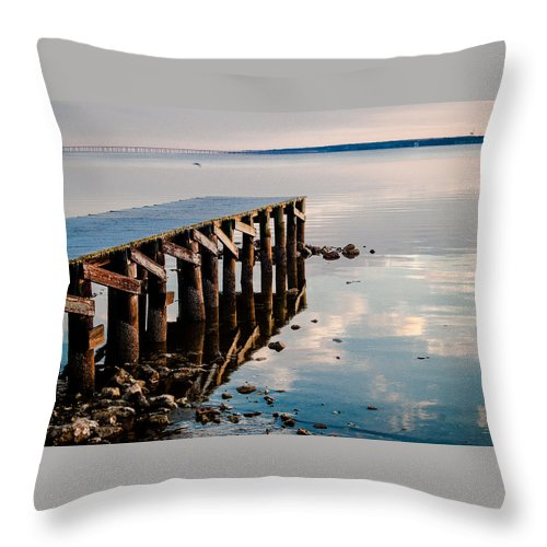 Pier Throw Pillow featuring the photograph Reflected Pier by Jon Cody