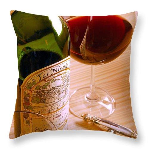 Wine Throw Pillow featuring the photograph Reflecting by Jon Neidert