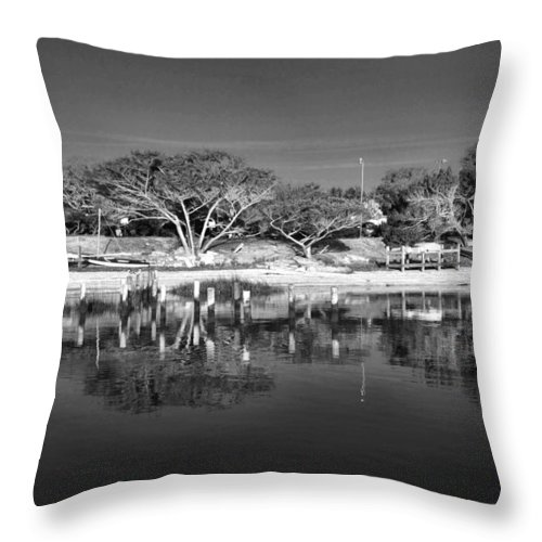 St Augustine Lighthouse Reflection Waterway Intracoastal Scenic Black White Throw Pillow featuring the photograph Reflecting Lighthouse by Alice Gipson