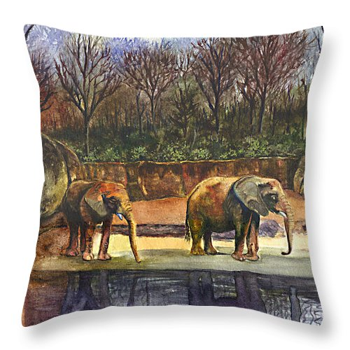 Elephants Painting Throw Pillow featuring the painting Reflecting Wisdom by Terri Meyer