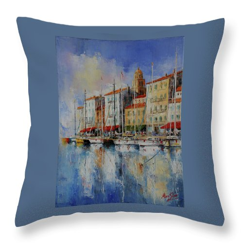 Seascapes Throw Pillow featuring the painting Reflection - St.tropez - France by Miroslav Stojkovic
