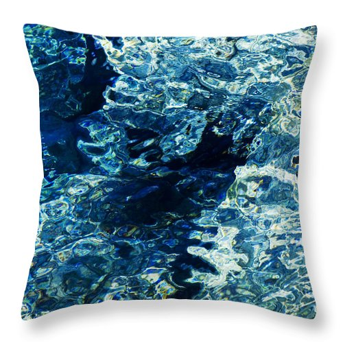 Reflection Throw Pillow featuring the photograph Reflection In Blue Water by Raimond Klavins