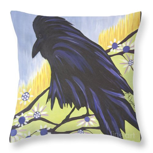 #raven Throw Pillow featuring the painting Reflection by Jacquelinemari