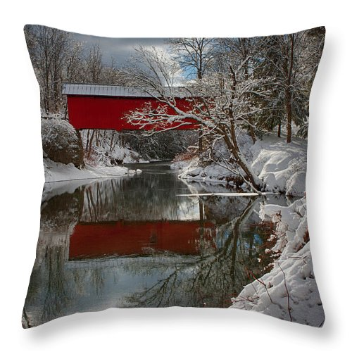 Covered Bridge Throw Pillow featuring the photograph reflection of Slaughterhouse covered bridge by Jeff Folger