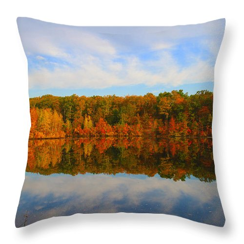 Foliage Throw Pillow featuring the photograph Reflection Of The Fall by Roger Becker