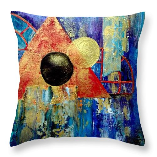 Abstract Throw Pillow featuring the painting Reflections 1 by Cheryl Ehlers
