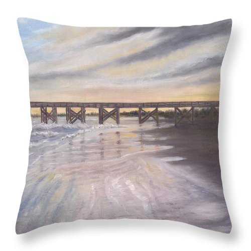 Beach; Pier; Low Country Throw Pillow featuring the painting Reflections by Ben Kiger