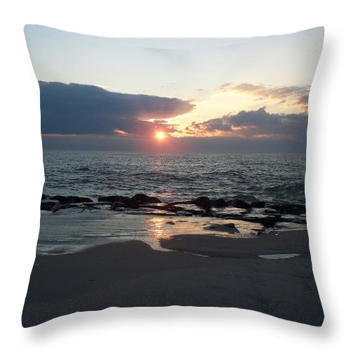Reflections Throw Pillow featuring the painting Reflections Cape May Point by Eric Schiabor