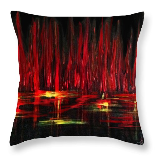 Contemporary Art Throw Pillow featuring the painting Reflections In Red by Dani Abbott