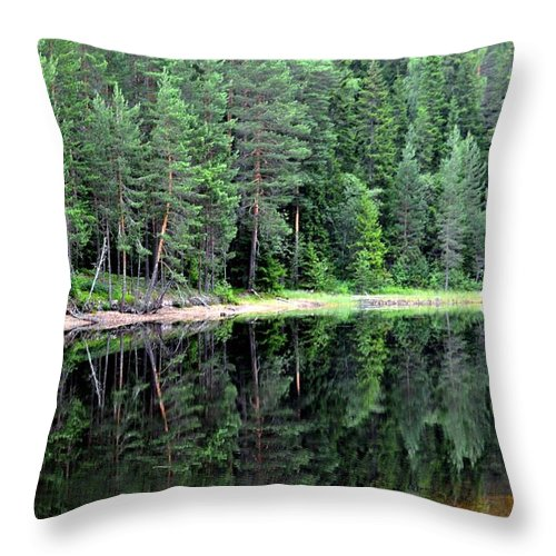 #water #forest #refelections #mirror #nature #green #trees #beatiful Throw Pillow featuring the photograph Reflections In Wtare by Stefan Pettersson