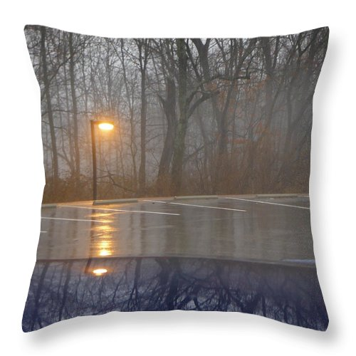 Reflections Of A Lamp On The Edge Of A Foggy Forest Throw Pillow featuring the photograph Reflections Of A Lamp On The Edge Of A Foggy Forest by Paddy Shaffer