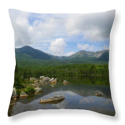 Katahdin Throw Pillow featuring the photograph Reflections Of Katahdin At Sandy Stream Pond by Georgia Hamlin